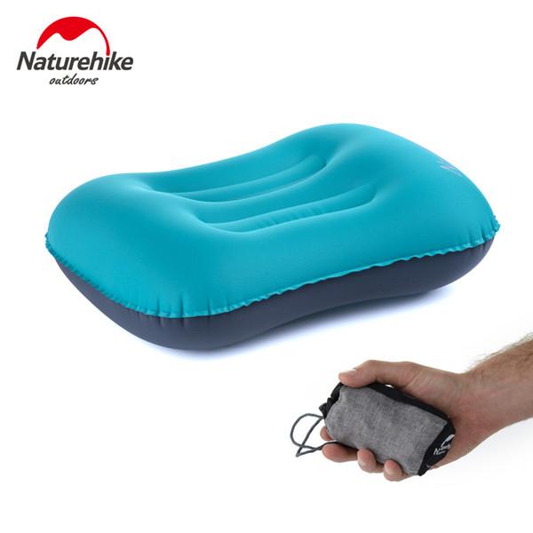 Vente en gros-Naturehike Portable Gonflable Gonflable Extérieure Sleeping Gear Voyage Eros Oreiller Coussin Gonflable Doux Cou Protecteur HeadRest