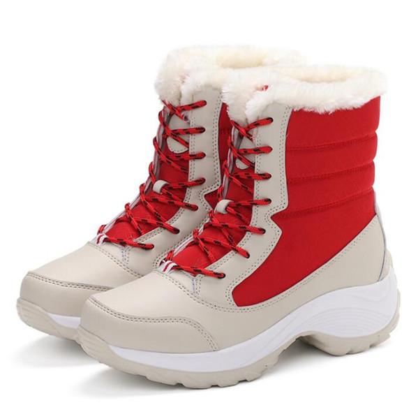 Women Snow Boots Winter Warm Boots Thick Bottom Platform Waterproof Half Ankle Boots Women Thick Fur Cotton Shoes Plus Size 35-41