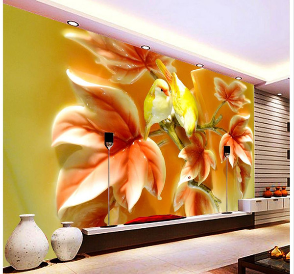 3d Flower And Bird Butterfly Home And Rich Tv Background Mural 3d ...