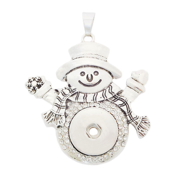 D0025 Noosa Chunks Cute Snowman Pendant Ginger Snap Button Pendants Sweater Necklace 18mm DIY Women Jewelry