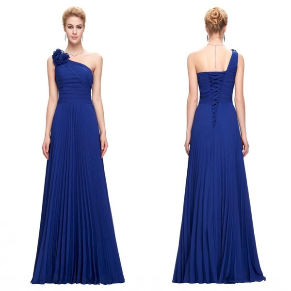 Grace Karin New A-line One Shoulder Floral Pleats Chiffon Prom Bridesmaid Gowns Sexy Long Junior Maid of the Bride Dresses CL3467