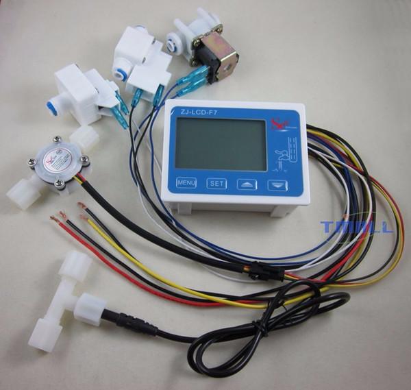 Pantalla de controlador de filtro de agua pura al por mayor-RO + válvula solenoide + interruptor + sensor de flujo + TDS