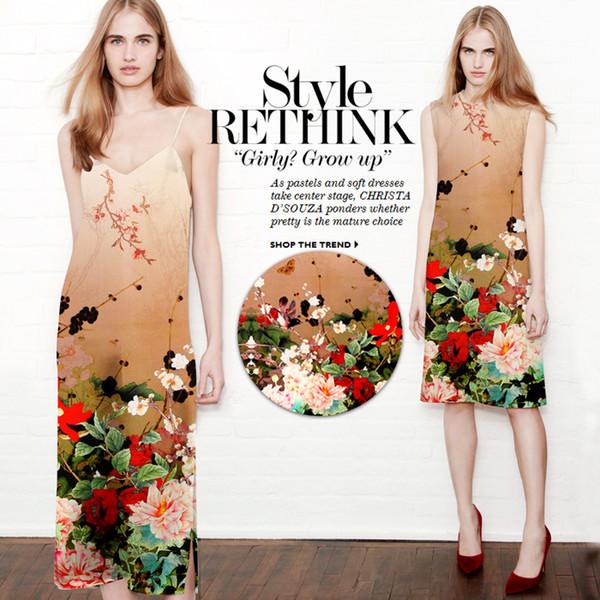 118*120cm 19mm 93% silk & 7% spandex 19mm floral print coffee color silk satin fabric for dress shirt clothes choengsam D597