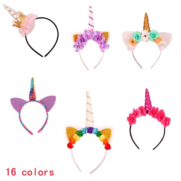 Baby Fashion Unicorn Tiaras for Festival Party Lovely Cat Ears Girls Hair Sticks Hair Bow Kids Headband Pretty Princess Hair Accessories