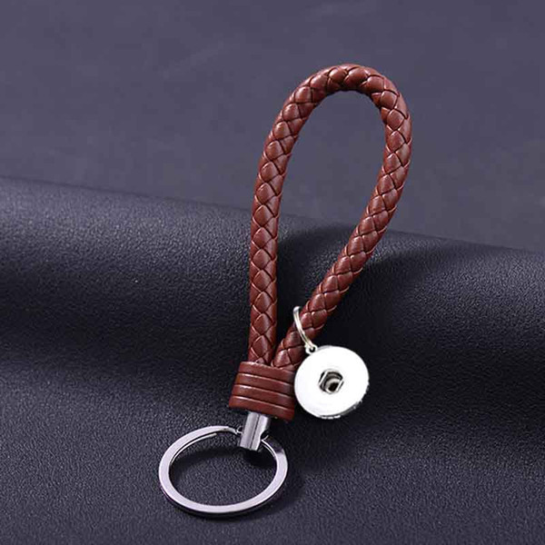 Hot Sale Top Popular 025 Fashion Weave PU Leather Key Chains 18mm Snap Button Keychain Jewelry For Men Women 10 Colors Key rings