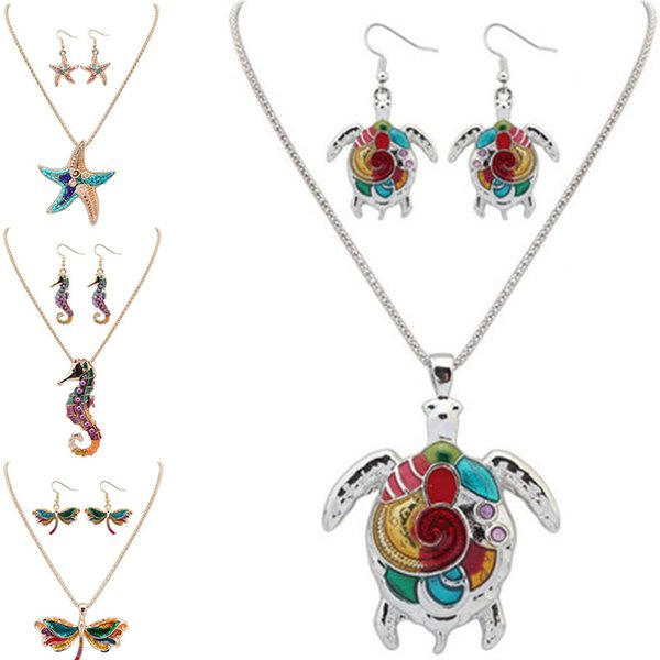 top popular Maxi Statement Choker Rainbow turtle starfish dolphin dragonfly Hippocampus Necklace earring set Collar Pendant Fashion New Enamel Jewelry 2019