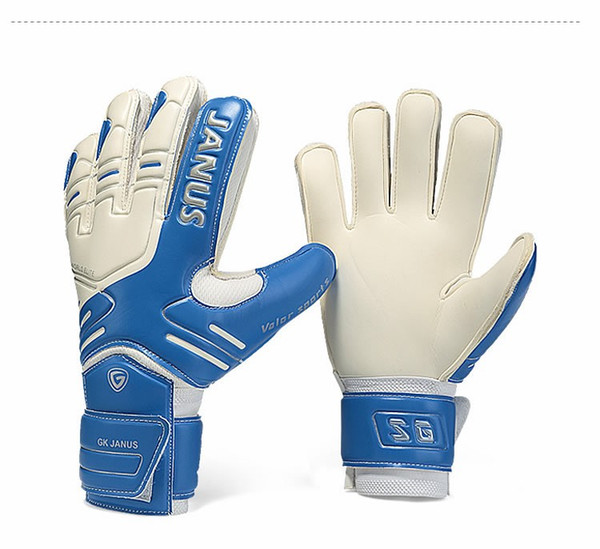 top popular JANUS Brand Professional Goalkeeper Gloves Finger Protection Thickened Latex Soccer Football Goalie Gloves Goal keeper Gloves 2019