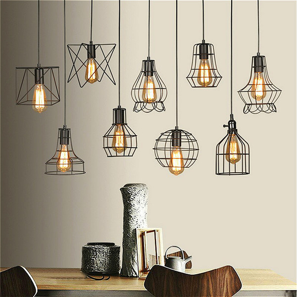 Retro lamp shades industry metal pendant lamps holder vintage style retro lamp shades industry metal pendant lamps holder vintage style iron hanging light shade edison bulb aloadofball Image collections