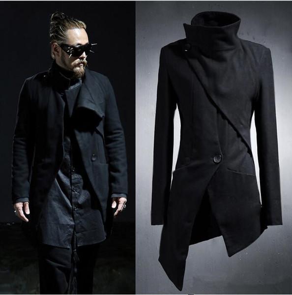 Großhandels- 2017 koreanische Harajuku gotische unregelmäßige Designer Punk Männer Mantel lange schwarze Herren Trenchcoat Männer Slim Fit Jacke Windbreaker