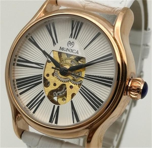 Новые горячие автоматические механические часы женские кожаные модные выдолбленные часы Guangzhou Muonic Марка римские цифровые часы из розового золота