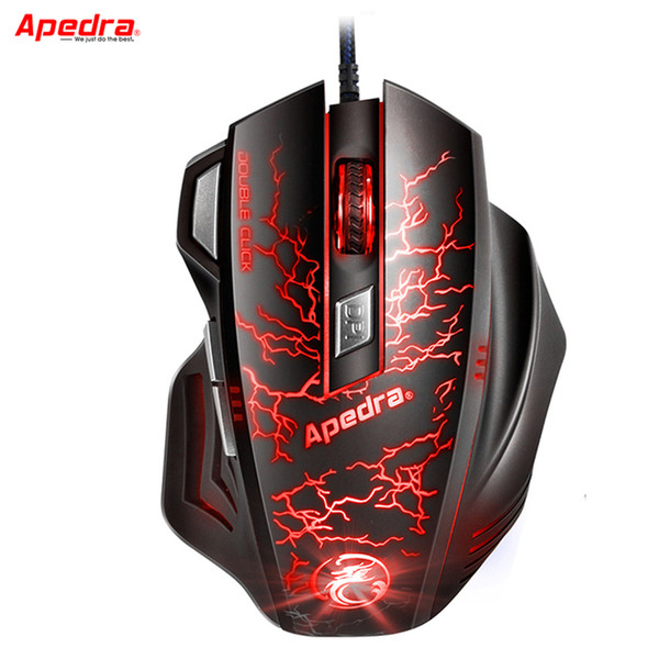 Atacado-Profissional USB Wired Gaming Mouse 7Button Macro Definição Optical Mouse de Computador Gamer Cable Mice Para PC Portátil LOL CSGO Dota