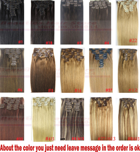 "best selling ZZHAIR 16""-32"" 100% Brazilian Remy Human hair Clips in on Human Hair Extension 10pcs set Full Head 120g-220g Straight Hair"