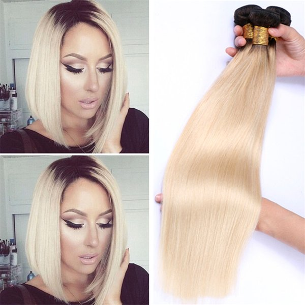 Platinum Blonde Dark Roots Ombre Straight Brazilian Hair #1B/613 Ombre Two Tone Human Hair Weave Bundles 3Pcs/Lot Dhl Free