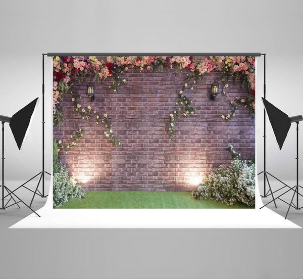 7x5ft(220x150cm) Brick Wall Photographic Background Colorful Flowers Spring Grass Photography Backdorp for Wedding Backdrops