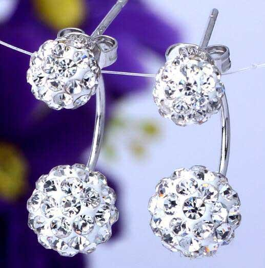 Women Fashion 925 Sterling Silver Double sided Shambala Ball Stud Earrings Diamond Crystal disco beads Earings fine Jewelry for women girls