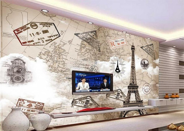 Wholesale- custom mural wallpaper living room 3d photo wallpaper Paris Eiffel Tower painting room sofa TV background wall non-woven sticker
