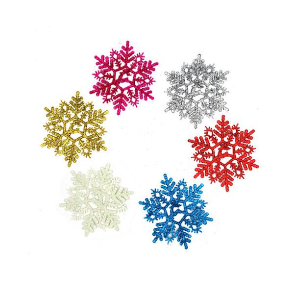 Wholesale-6Pcs/set 11cm Christmas Snow Powder Artificial Snowflakes Pendants Christmas Tree Ornaments Party Decoration For Xmas Supplies