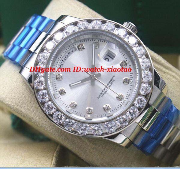Orologi di lusso da uomo in oro bianco 18 carati Bigger Diamond automatico orologio da polso da uomo di marca