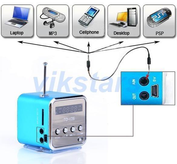 Commercio all'ingrosso SOLO AMORE micro SD TF USB altoparlanti portatili internet radio, lettore musicale di vibrazione del pc del telefono cellulare, mini altoparlante V26 multifunzionale