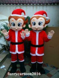 Encantador mono de la Navidad traje de la mascota disfraces de Halloween fiesta de Navidad tamaño adulto traje de dibujos animados animales vestido de lujo envío gratis