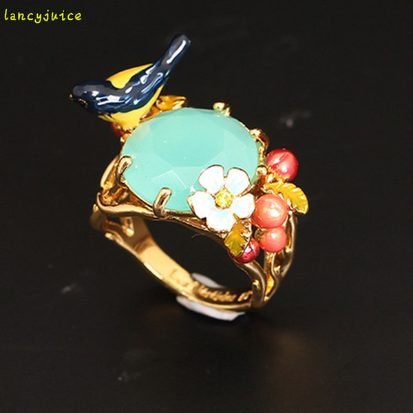 Luxury Bird Gem Flower Ring For Women Size 7 Enamel Copper Gold Good Quality