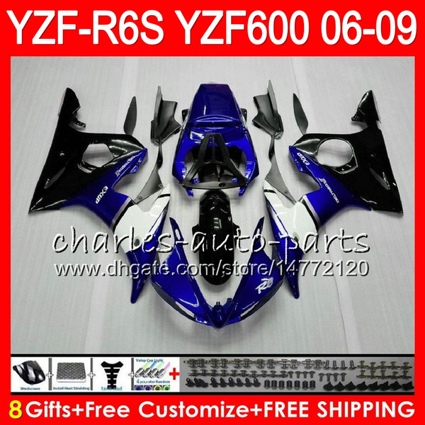 8Gifts 23Color Body For YAMAHA YZF600 YZFR6S 06 07 08 09 57HM2 YZF R6 S blue black YZF 600 YZF-R6S YZF R6S 2006 2007 2008 2009 Fairing kit