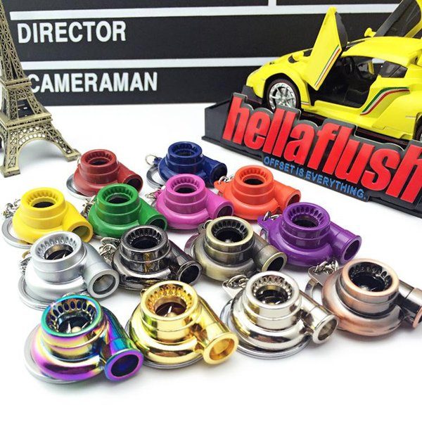 Car modified turbo Keychain creative rotary blade supercharger car key ring wholesale