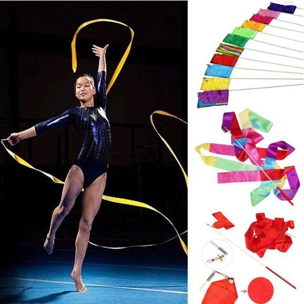 Free shipping Colorful Gym Dance Ribbon Rhythmic Art Gymnastic Streamer Twirling Rod Stick 10 Colors Wholesale 4M