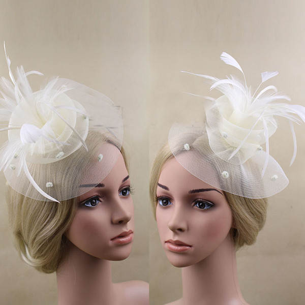 9 Colors Sinamay Fascinator Hats With Feather With Two Layered Wedding Hats Hair Clips Head Ornaments Beautiful Ladies Hair Accessories