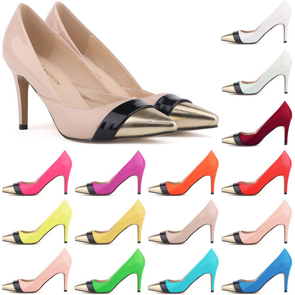 Sapatos Feminino Womens Pointed Toe Patent Pu Leather Heels Corset Style Work Pumps Court Women Shoes US Size 4-11 D0070