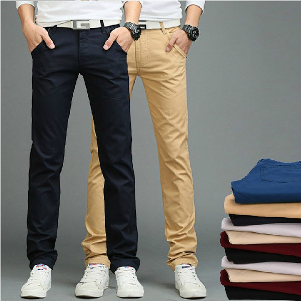 Wholesale-2016 New Arrival men Pants Men's Slim Fit Casual Pants Fashion Straight Dress Pants Skinny Smooth Trousers High Quality