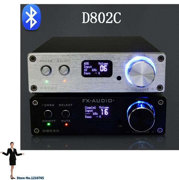 Freeshipping FX-Audio D802C Bluetooth3.0 Pure amplificador digital USB / RCA / óptica / coaxial 24Bit / 192KHz 80W + 80W pantalla OLED