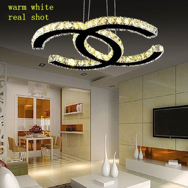 K9 Crystal LED Lustres Pendant Lights Silver Steel Kitchen Lighting Pendants Double C Lustre Dining