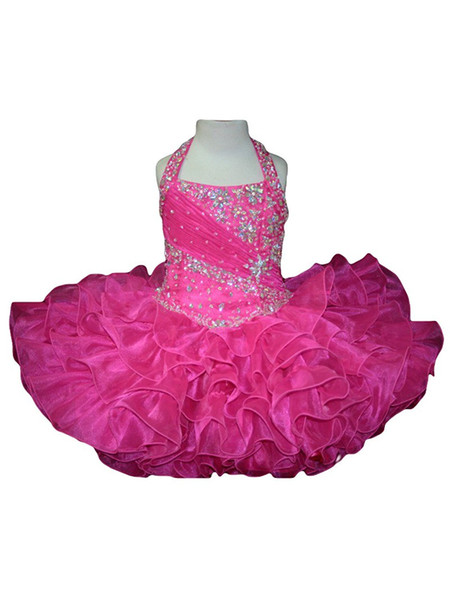 Modest Ruffle Beads Cupcake Birthday Girls Pageant Dresses 2018 Short Girl Communion Dress Kids Formal Wear Flower Girls Dresses for Wedding