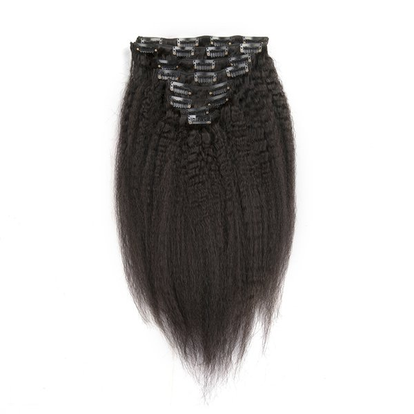 Slove Hair Kinky Straight Clips In Brazilian Human Hair Extensions 130g 10pcs/Set Coarse Yaki Clip Ins 100% Remy Hair
