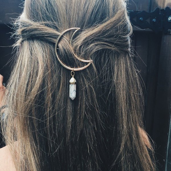 New jewelry wholesale, spring and summer hair ornaments, alloy moon hexagonal pendant hair ornaments, hair clips
