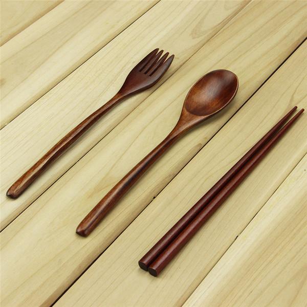2 teiliges Holz Besteck Set Natur Holz langer Griff Löffel Gabel Set Geschirr