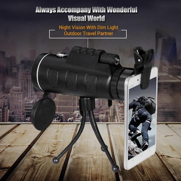 20 adet PANDA 40x60 Mini Tripod Teleskop Gece Görüş Monoküler Telescopio Telefon Kamera / Video Teleskop Pusula Ile Ücretsiz Kargo