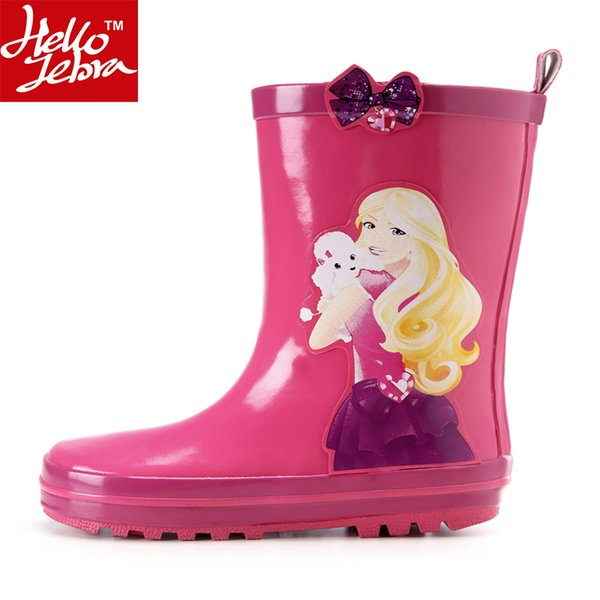 Children Rainboots Girls Baby Kids 2016 New Water Shoes Summer Rubber Rain Boots Mid-Calf Cartoon Fashion Student Boots Printing Cute Girls