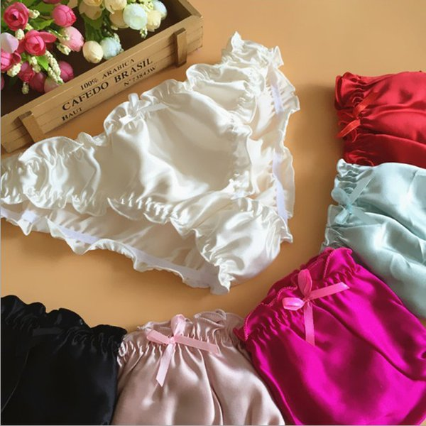 3pcs/lot Great Quality women's mulberry silk panties silk panties female panties ruffle female briefs free shipping