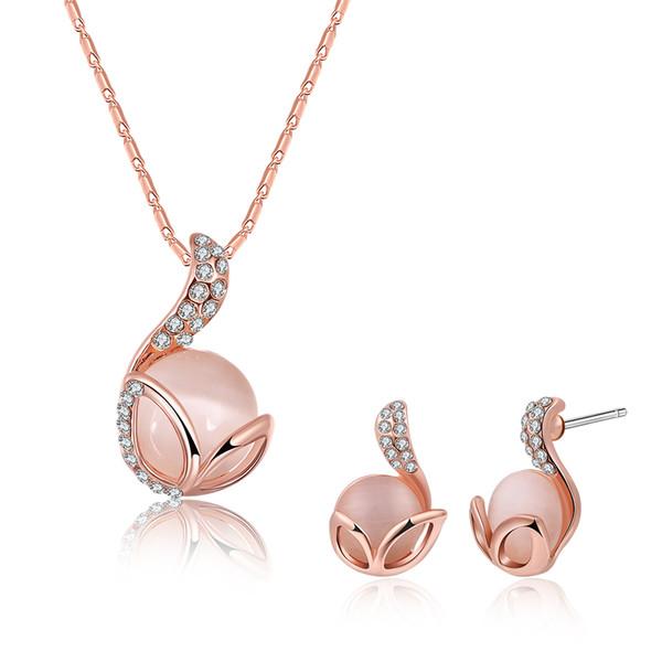 mode Ca U7 Collier pendent en pierres precieuses Ensemble de boucles d/'oreilles