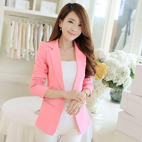Women One Button Blazer Suit Jacket New Fashion Plus Size White Black Pink Blue Candy Color Casual Blazers Jackets