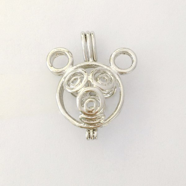 18KGP Cute Mouse style Cage Locket, Wish Pearl Pendant Mounting for DIY Fashion Jewelry Charms