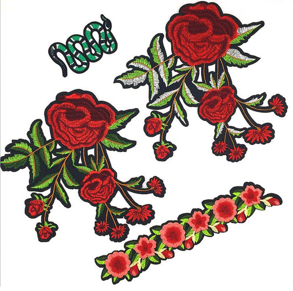 DIY Embroidery Flower and snake Patch Applique Iron On Cartoon Patches Cute Cheap Sewing Patches For Clothing Skirt Badge