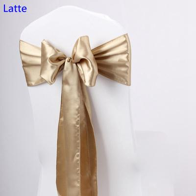 Latte colour satin sash chair high quality bow tie for chair covers sash party wedding hotel banquet home decoration wholesale