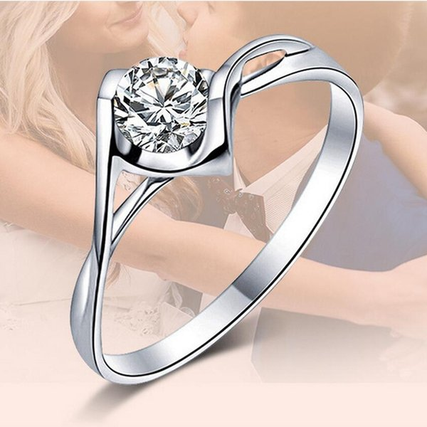 best selling Hot sale Fashion Luxury Women Engagement Jewelry 925 sterling Silver Crystal Zircon Female Wedding Finger Flower Rings