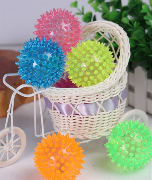 Dog Puppy Cat Pet LED Flashing Night Light Squeaky Rubber Chewing Bell Ball Hedgehog Fun Toys For Kids
