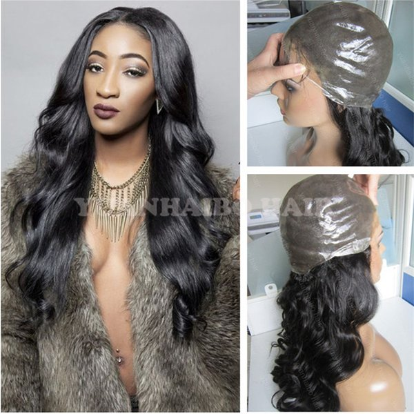 8A Quality 1B Virgin Indian Human Hair PU Wigs Body Wave Full Thin Skin Wig Free Shipping