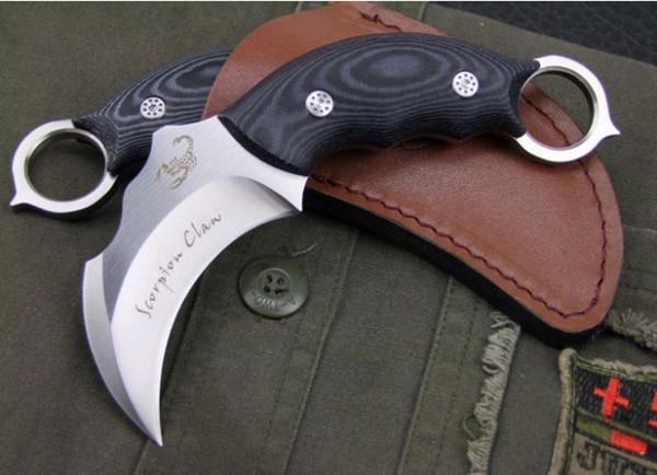 Scorpion Claw Karambit Pocket knife Fixed Blade combat camping Knives micarta handle Christmas gift folding knife free shipping 1 pcs