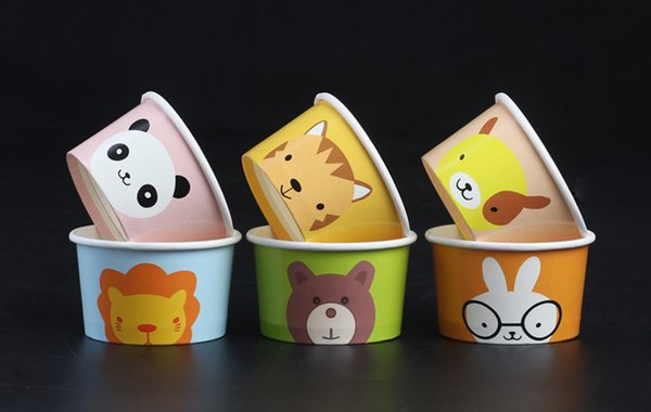 1000 Pcs Cartoon Cute ice cream cups Paper ice cream bowl Ice Bowl with Cover Holiday party supplies